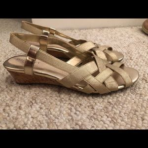 Ellen Tracy Gold Wedge Sandals